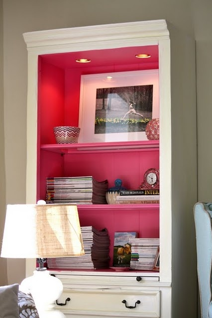 V Day - pink bookcase