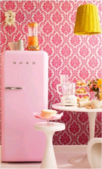 V Day - pink smeg fridge