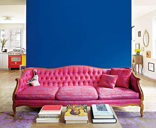 Colour - pink sofa and blue wall