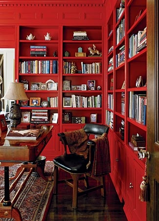 Colour - red bookcase