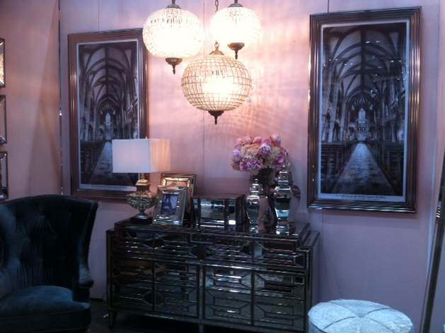 Cafe LIghting cabinet and chandeliers