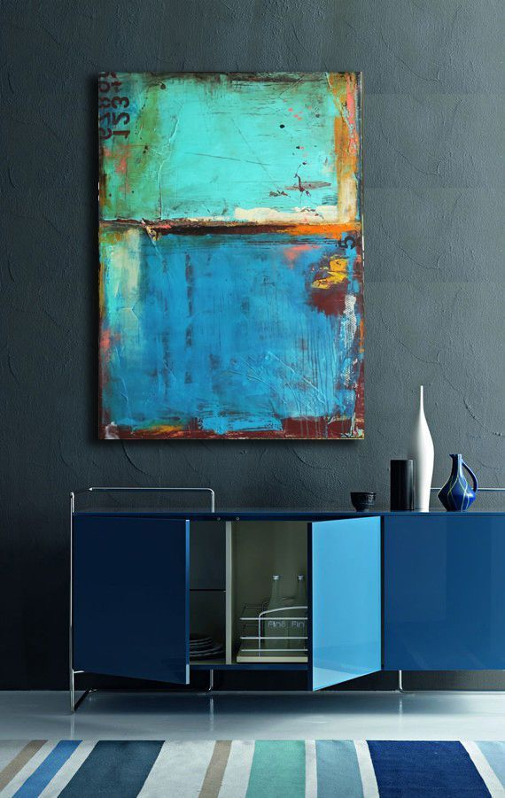Navy & Mint sideboard and artwork