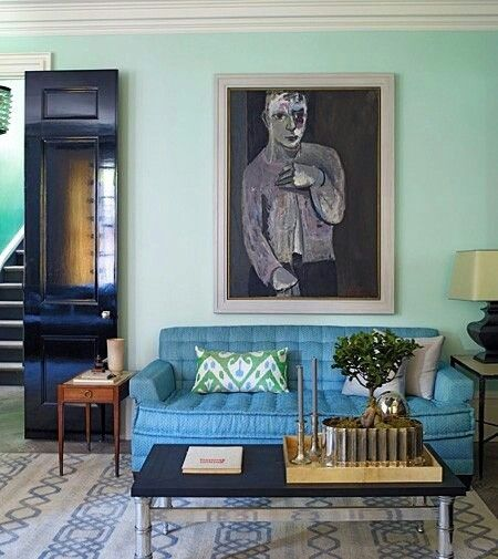 Navy & Mint living room