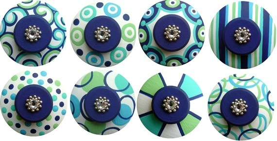 Navy & Mint decorative drawer pulls
