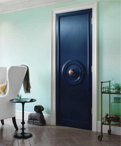 Navy door and mint wall