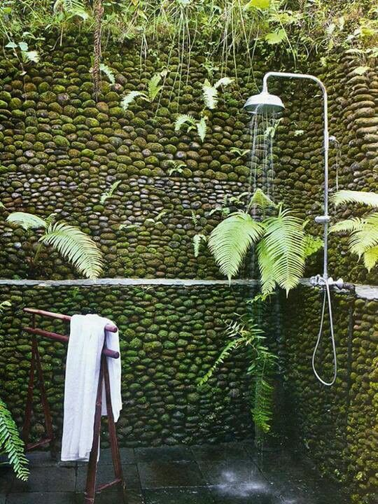 Stone wall with outdoor shower
