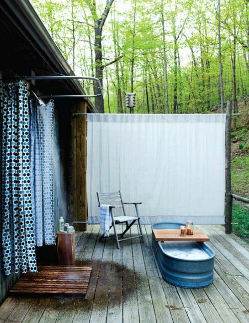 Simple outdoor shower with fabric screen