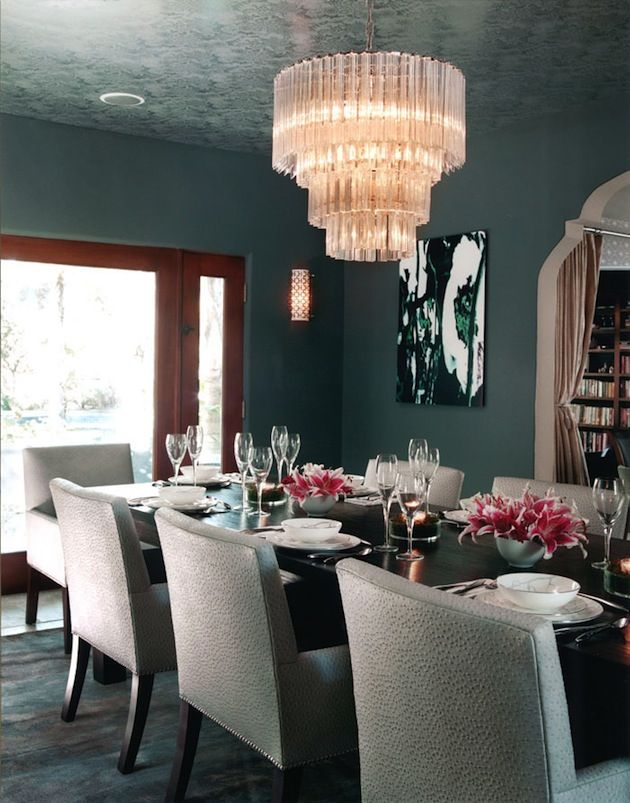 Dining room with stunning chandelier