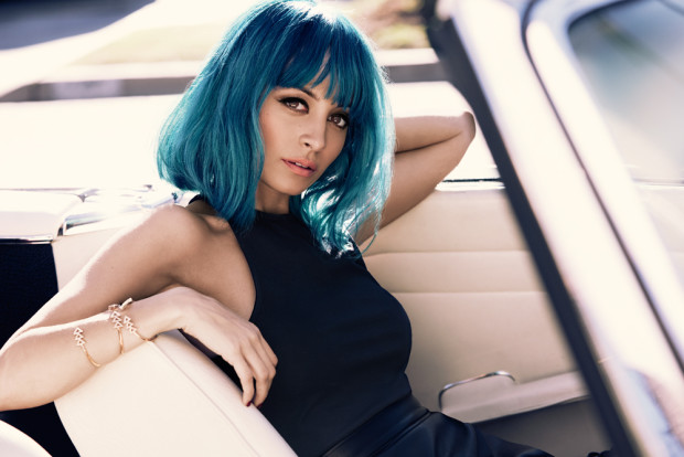 Nicole Richie with turquoise hair
