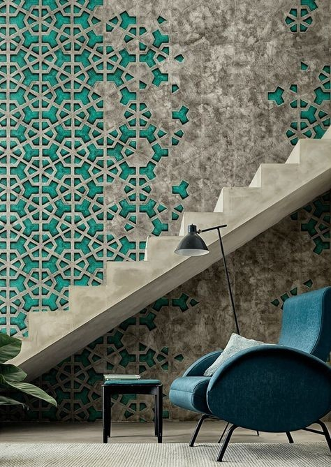 Turquoise wall with metalwork