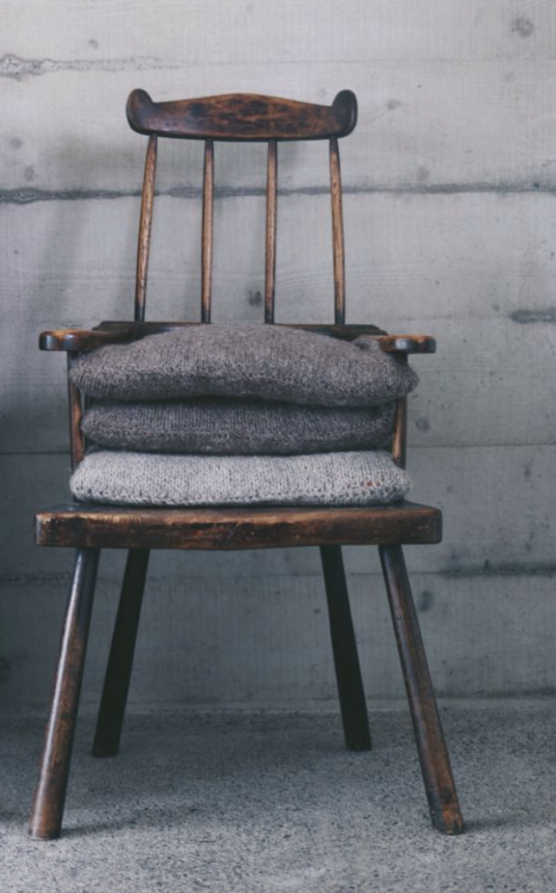 Chair with winter throws
