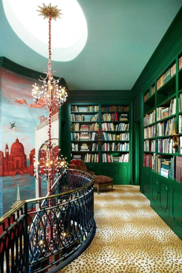 Green library and leopard floor