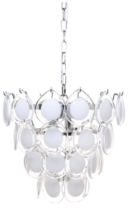 White Glass Disc Chandelier Reduced