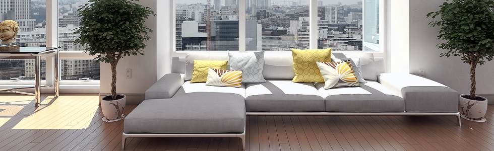 Grey sofa with yellow cushions