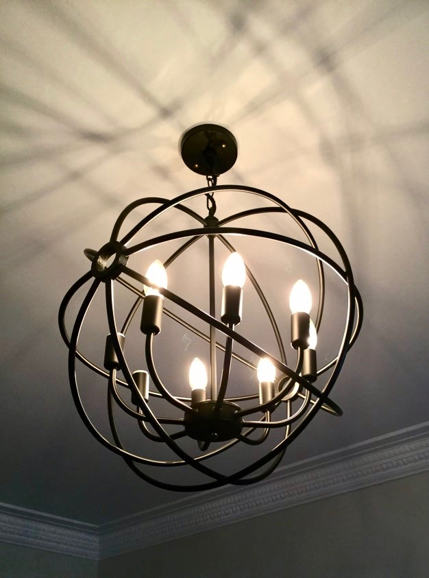 Modern black orb metal chandelier
